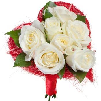White roses in red heart
